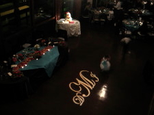 Marina Village Wedding DJ Cake Spotlighting & Monogram Projection
