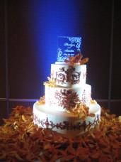 Omni San Diego Wedding Cake With Cake Spotlighting & Blue Uplighting