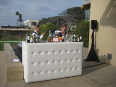 Scripps Forum Wedding White Leather Bar