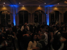 Dancing with Blue Uplighting at Bahia wedding in San Diego