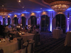 Purple uplighting at a Bahia Resort San Diego wedding