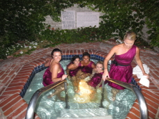 Bridesmaids in the jacuzzi